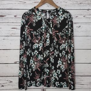 Liz Claiborne Career Floral Easy Care Top XL EUC
